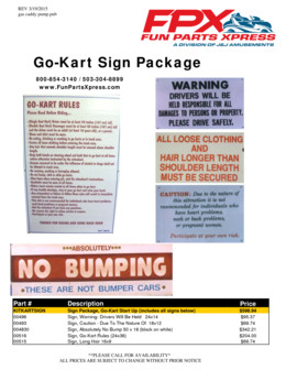 Go-Kart Signs